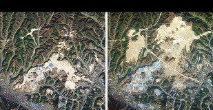 Imagini din satelit cu Shiyan, China, în 2010 (stânga) şi 2012 (dreapta), după ce mai multe piscuri au fost aplatizate